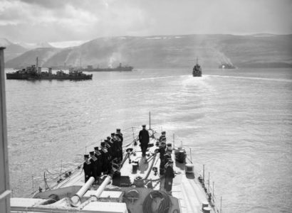 Escorts and merchant ships at Hvalfjörður in May 1942 before the sailing of Convoy PQ 17