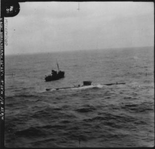 U-570. Captured by British forces on 27 August 1941 south of Iceland, after being damaged by a British Hudson aircraft (269 Sqn RAF/S)