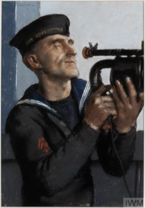 Leading Signalman J G Burton : signalling with an Aldis lamp, 'HMS King George V' (Art.IWM ART LD 2690) image: A half-length portrait of Leading Signalman J G Burton in uniform on the deck of the ship. He is turned sideways, holding a signaling lamp up to his face with both hands. Copyright: © IWM. Original Source: http://www.iwm.org.uk/collections/item/object/8034