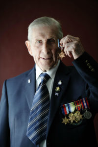 Edwin Leadbetter, 92, from Glasgow poses for a photograph after finally receiving his Arctic Star medal from the MoD at BAE Systems in Govan on July 31, 2017