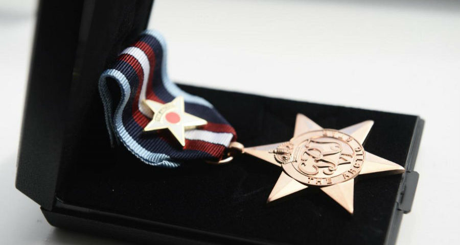 GLASGOW, SCOTLAND - JULY 31: a general view of the Arctic Star medal awarded to Edwin Leadbetter, 92, from Glasgow