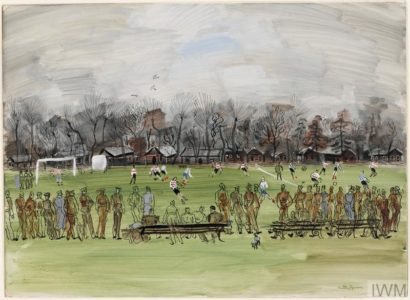 Association Football - A winter's day; a football match, a line of soldiers, some wearing grey coats, watches from the touchline | Image © IWM ART LD 46.