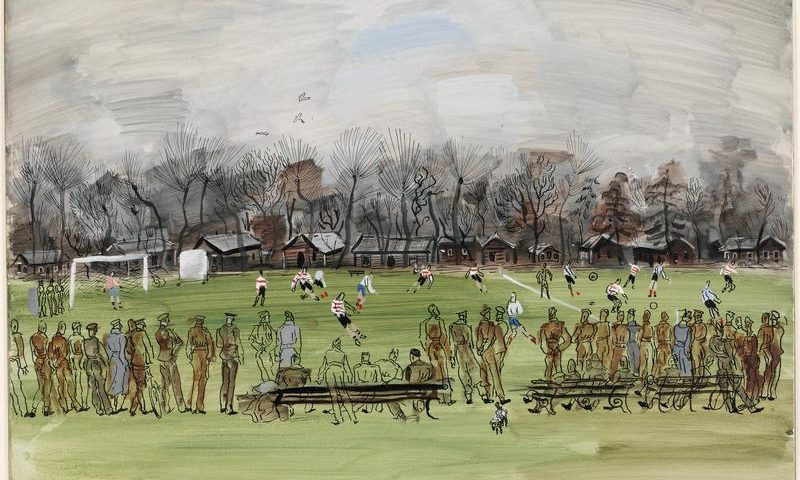 Association Football - A winter's day; a football match, a line of soldiers, some wearing grey coats, watches from the touchline   Image © IWM ART LD 46.
